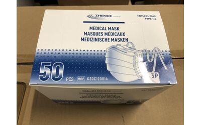 Zhende mondmasker type IIR met knooplinten per 50st.