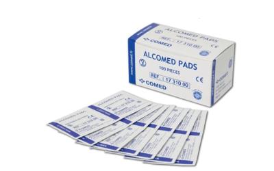 Alcomed pads 70% alcoholdoekjes p/100st. geschikt voor vaccinatie