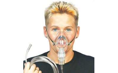 DCT O2 zuurstofmasker met neusklem, veiligheidsslang 2.10m met ventiel, per set
