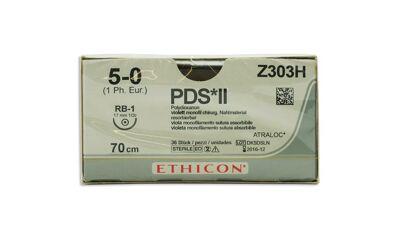 PDS 2 hechtdraad Z303H 5-0 met RB-1 naald per 36st.
