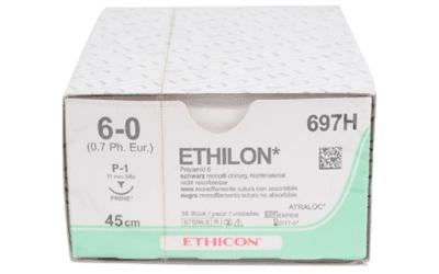 Ethilon hechtdraad 6-0 met P-1 Prime naald 45cm zwart per 36st.