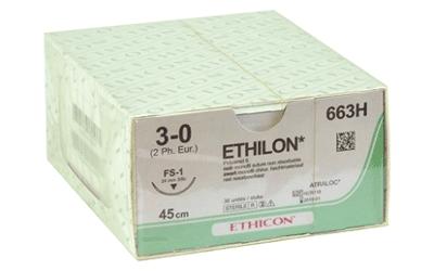 Ethilon 3-0 hechtdraad 663H met FS-1 hechtnaald 45cm draad per 36st
