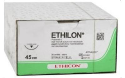 Ethilon hechtdraad 6-0 45cm zwart FS-3 naald 660H 36st.