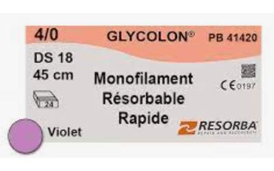 Glycolon Resorba DS18 violet 1.5 4-0 70cm, 24stuks