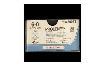 Ethicon prolene W8003T hechtdraad 6/0 45cm blauw met P1 hechtnaald per 24st.