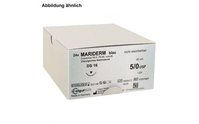 Mariderm hechtdraad monofile blauw 45cm 5/0 met DS16 naald per 24st.