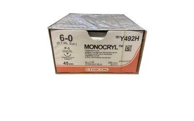 Monocryl plus hechtdraad 6-0 P3 prime naald Y492H 45cm draad ongekleurd per 36st.