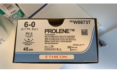 Ethicon prolene W8873T hechtdraad 6/0 met PC3 naald per 24st.