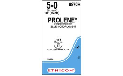 Prolene hechtdraad 5-0 75cm blauw RB-1 8870H 36x