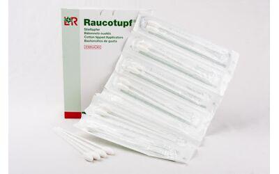 Raucotupf houten wattenstaafjes steriel met kleine tip per 100x2st. verpakt