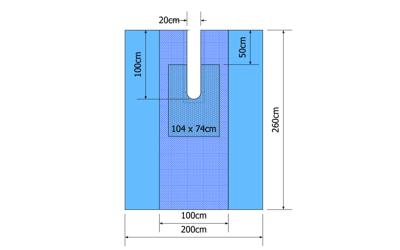 Euroguard OK Split laken 260x200cm, split 20cm, steriel. 3laags, 15st