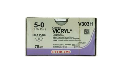 Vicryl hechtdraad V303H 5-0 violet draad 70cm RB-1 taperpoint hechtnaald 1/2 17mm per 36st.