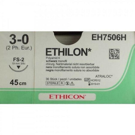 Ethilon hechtdraad 3-0 FS 1 naald EH7794H per 36st.