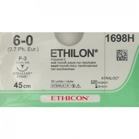 Ethilon hechtdraad 6-0 P3 naald 1698H 45cm per 36st.