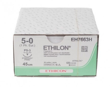 Ethilon hechtdraad 5-0 FS2 naald EH7790H 45cm per 36st.