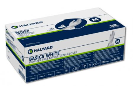 Halyard basics witte nitrile poedervrije handschoenen per 200st.