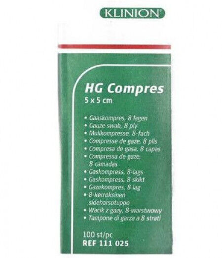 Klinion HG Kompres hydrofiel 5x5cm 8 laags per 100st.