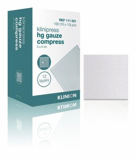 Klinion HG compres steriel verpakt gaaskompres