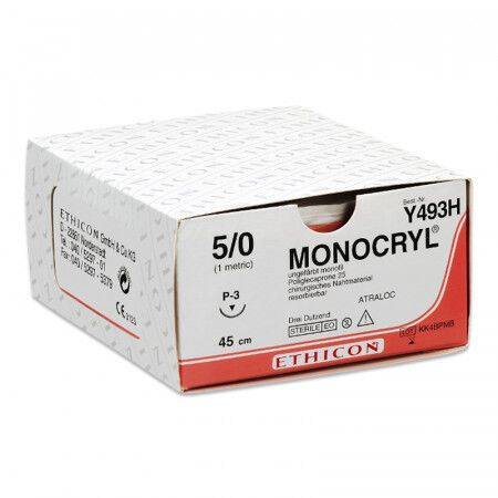 Monocryl plus hechtdraad 5-0 P3 naald MPY493H 70cm draad ongekleurd per 36st.
