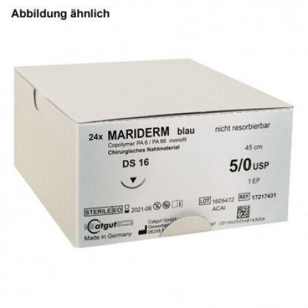 Mariderm hechtdraad monofile blauw 45cm 4/0 met DS16 naald per 24st.