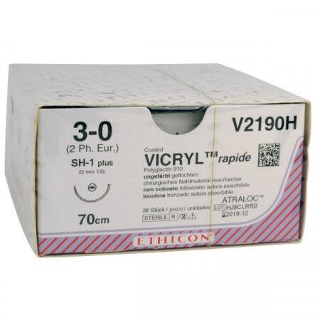 Vicryl Rapide hechtdraad 3-0 SH1 naald V2190H per 36st. 70 cm draad
