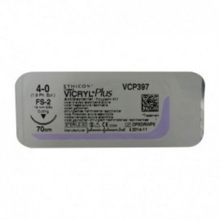 Vicryl Plus hechtdraad 4-0 met VCP392ZH naald 45cm per 36st.