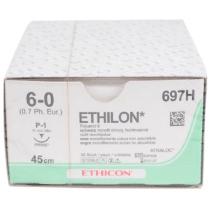 Ethilon hechtdraad 6-0 P1 naald 697H 45cm zwart per 36st.
