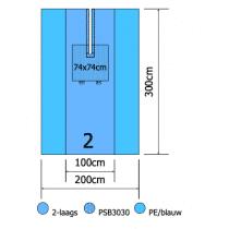 Euroguard splitlaken 300x200cm 2 laags met split 6x100cm per 10st.