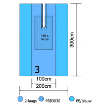 Euroguard splitlaken 300x200cm 2 laags met split 10x75cm per 8st.