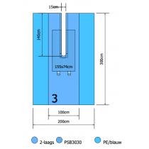 Euroguard splitlaken 300x200cm 2 laags met split 15x140cm per st.