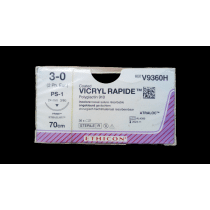 Vicryl Rapide V9360H ongekleurd hechtdraad 3-0 draad 70cm PS-1 reverse cutting prime hechtnaald 3/8 24mm per 36st.