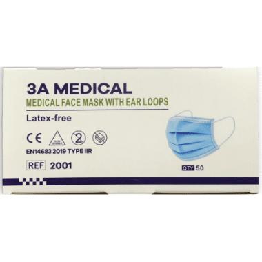 Medische 3A mondmaskers type IIR EN14683 per 50st.