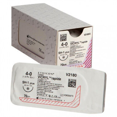 Vicryl Rapide V2180G hechtdraad 4/0 met SH-1 naald 70cm per 12st.