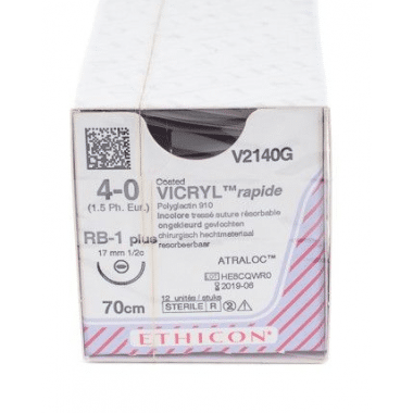 Vicryl Rapide V2140G hechtdraad 4/0 met RB1 naald 70cm per 12st.